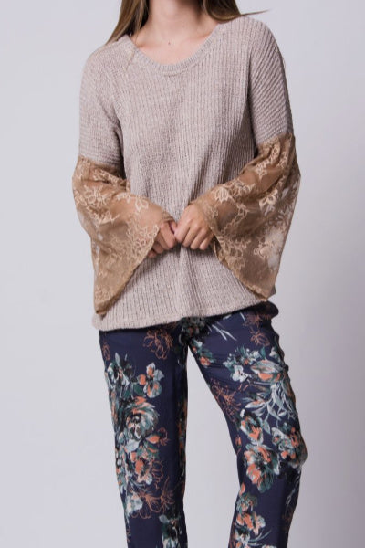 Dublin Sweater with Bell Lace Sleeve