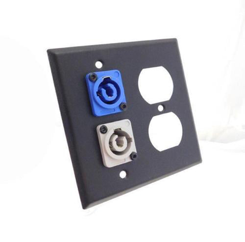 ProCraft 2 Gang Black Wall Plate AC Duplex Neutrik PowerCon In (Blue) Out (Gray)