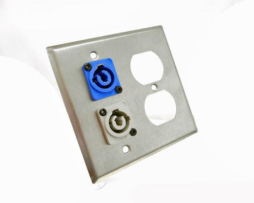 ProCraft 2 Gang Stainless Wall Plate AC Duplex Neutrik PowerCon In Blue Out Gray