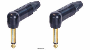 "2 New Neutrik NP2RX-B  Mono TS Right Angle 1/4"" 6.35 mm Guitar Plug Gold & Black"