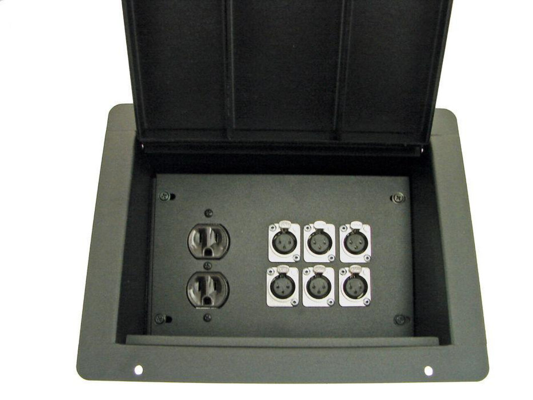 ProCraft Pro Audio Recessed Floor Pocket Box AC Duplex 6 XLR/Channels Any Config