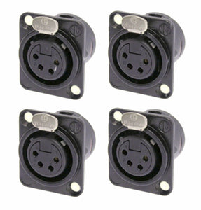 (4 Pack) Neutrik NC4FD-L-B-1 Black w/Gold Contacts 4-Pin XLR Chassis Panel Mount