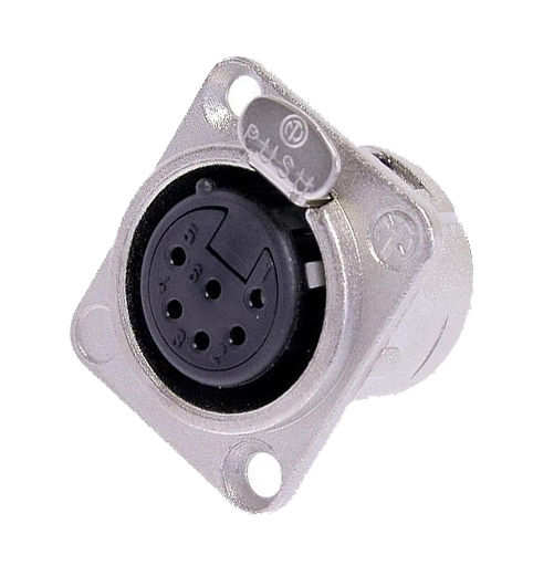 Neutrik NC6FD-L-1 XLR 6 Pin Female Chassis Panel Mount Nickel/Silver, Solder Cup