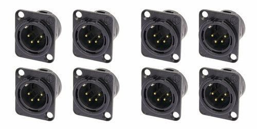 (8 Pack) Neutrik NC4MD-L-B-1 Chassis Panel Mount 4-Pin XLR Black w/Gold Contacts