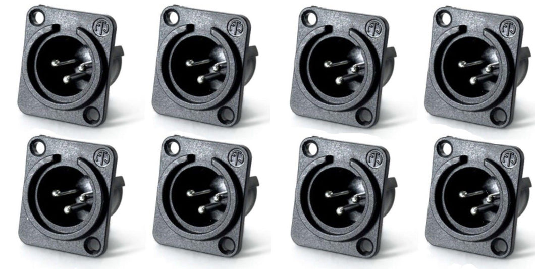 (8 Pack) Neutrik NC3MPP Male 3-Pin XLR Panel Non-Latching  Silver Contacts