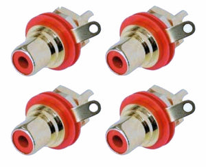 4 Genuine Neutrik Rean NYS367-2 Gold Plated RCA Phono Chassis Mount Socket, Red