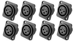 8 Pack- Genuine Neutrik NC3FPP Female 3-Pin Mic XLR Panel Mount Non-Latching
