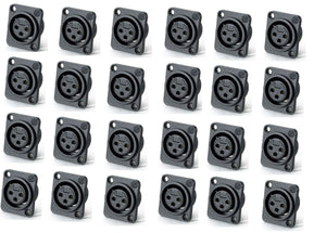 24 Pack Neutrik NC3FPP Female 3-Pin Mic XLR Panel Mount Non-Latching Connector