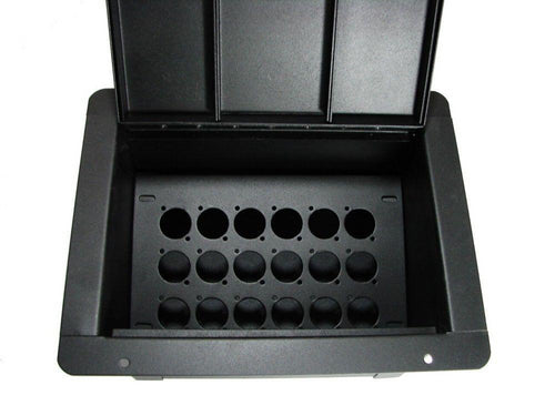 ProCraft Pro Audio Recessed Stage Pocket Floor Box, 18 D Mount Openings/Channels