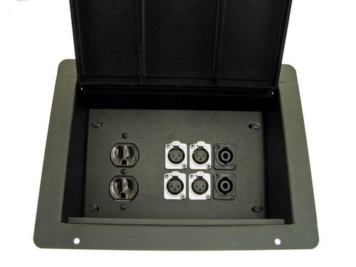 ProCraft ProAudio Recessed Pocket Floor Box 1 AC Duplex 6 XLR/Channel Any Config