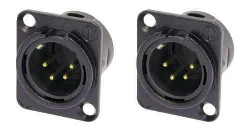 (2 Pack) Neutrik NC4MD-L-B-1 Chassis Panel Mount 4-Pin XLR Black w/Gold Contacts