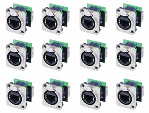 12 Neutrik NE8FDP Ethercon Cat 5 RJ45 Feed / Pass Through D Series Panel Jack