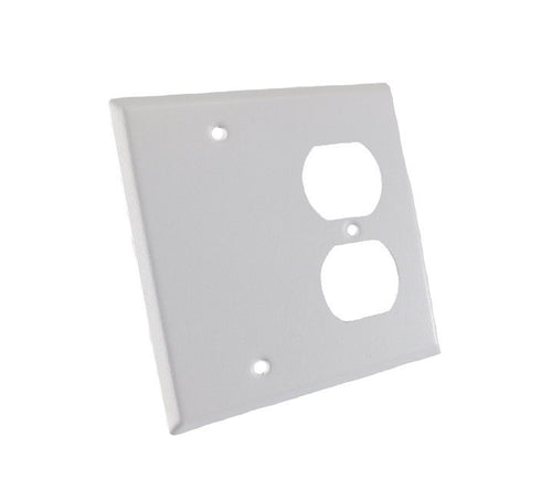 NEW Genuine ProCraft White Stainless Steel 2 Gang Wall Plate W/ Offset Duplex AC