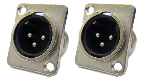 (2 Pack)  ProCraft PXLRMP Panel Chassis Mount Male XLR Connector Silver Finish