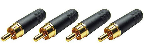(4 Pack) Switchcraft 3502ABAU   Cable End RCA Male Black/Gold w/Solder Terminals