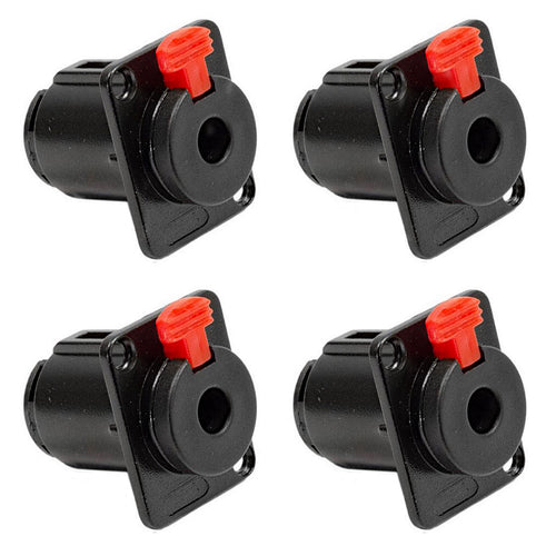 (4 Pack) Genuine PROCRAFT PC-TJ084A 1/4in TRS Panel Mount Locking Jack in Black
