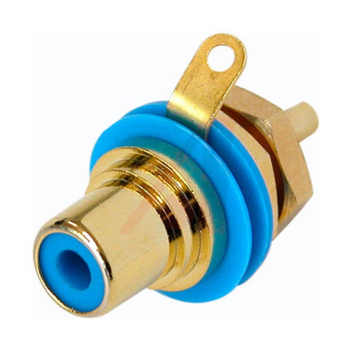 Neutrik Rean NYS367-6 Gold Plated RCA Phono Jack - Female Chassis Socket, Blue