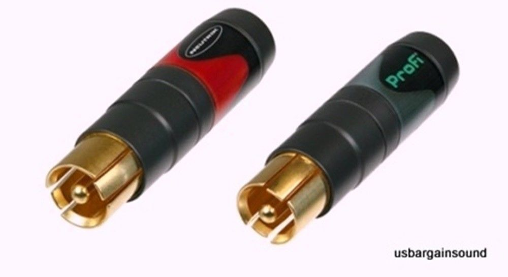 (One Pair) Neutrik NF2C-B/2  PROFI Phono RCA Plugs  Marked Red and Black