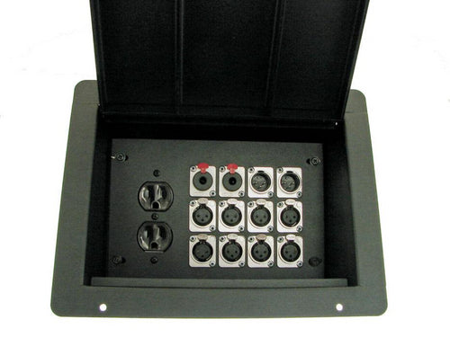 ProCraft ProAudio Recessed Pocket Floor Box 1 AC Duplex 12 XLRChannel Any Config