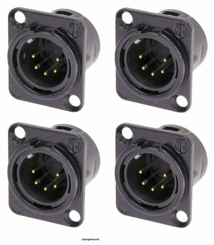 4 Genuine Neutrik NC5MD-L-B-1 XLR 5 Pin Male DMX Lighting Panel Jack Black/Gold