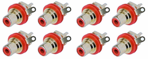 8 Genuine Neutrik Rean NYS367-2 Gold Plated RCA Phono Chassis Mount Socket, Red