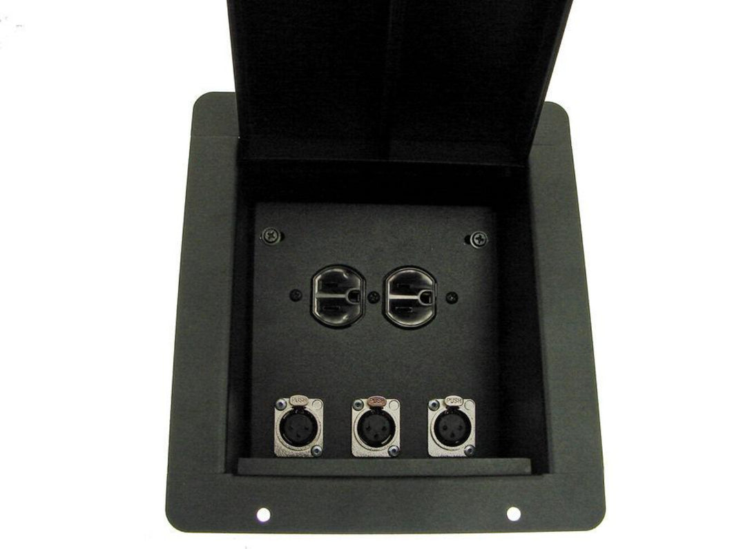 ProCraft Pro Audio Recessed Stage Mic Floor Box AC Power 3 Channel Any Configs