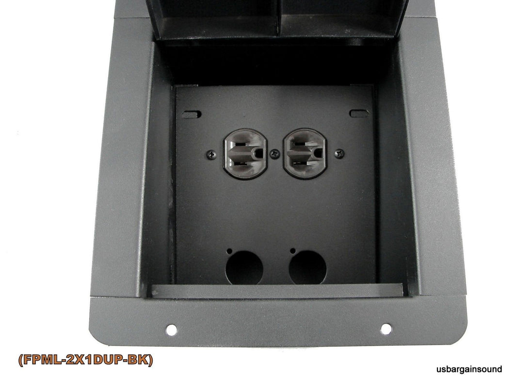 Recessed Floor Pocket Box. Loaded AC Duplex and PrePunched for 2