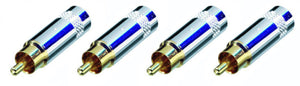 4 Pack Neutrik Rean NYS352G RCA Cable Connector Plug in Gold Large Nickel Handle