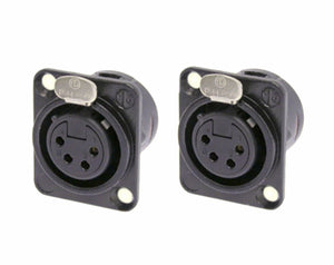 (2 Pack) Neutrik NC4FD-L-B-1 Black w/Gold Contacts 4-Pin XLR Chassis Panel Mount
