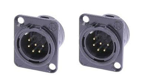 (2 Pack)Neutrik NC6MD-L-B-1  XLR 6 Pin Male  Panel Mount Black/Gold Contacts
