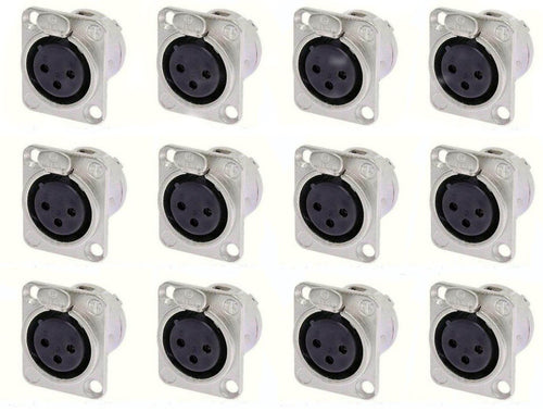 12 Pack- Neutrik NC3FD-L-1 Female XLR Nickel Panel Mic Connector Silver Contacts