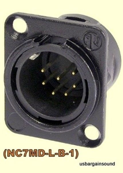 (One)  Neutrik (NC7MD-L-B-1) 7 Pin XLR Male Chassis Panel Mount  Black/Gold