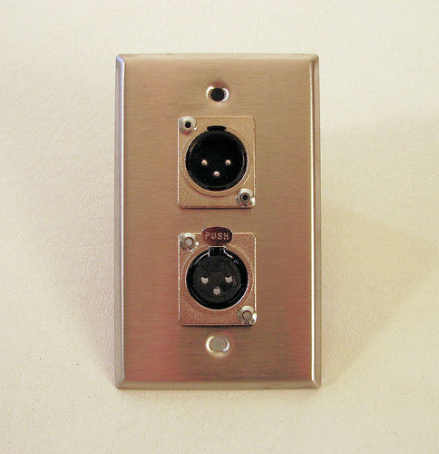 ProCraft Stainless Steel Wall Plate - One Female One Male XLR Mic Connector