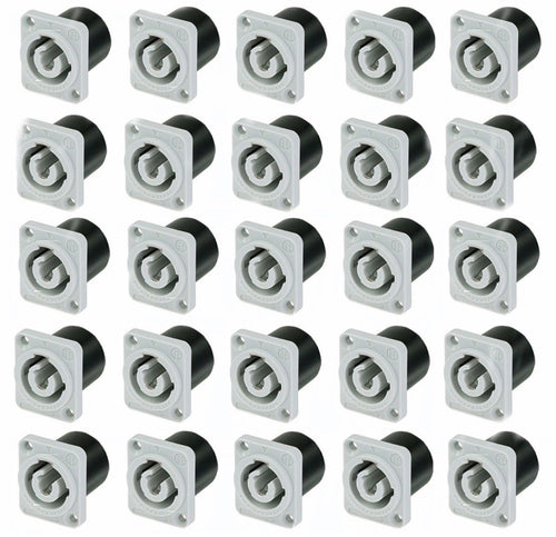 25 Pack Neutrik NAC3MPB-1 Powercon Receptacle Power Out Gray Rated 20A/250V (AC)