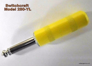 "Switchcraft 280-YL 1/4"" 2-Cond Phone Plug Yellow Metal Barrel (Solder Terminals)"