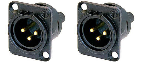 (2 Pack) Neutrik NC3MD-S-1-B XLR Neutrik Black/Gold Chassis Panel Screw Terminal