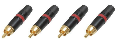 (4) Neutrik Rean NYS373-2  RCA Male Phono Plug Black w/ Gold Contacts - Red Ring