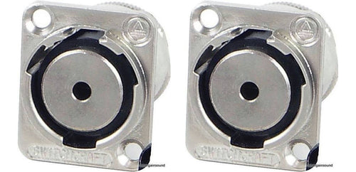 2 - Genuine Switchcraft EH35MMSSC 1/8' (3.5mm) Chassis Panel D-Mount Connector
