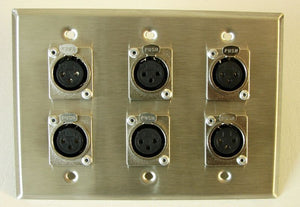 (One) Leviton Stainless Steel 3 Gang Wall Plate Loaded with Six Female XLR's