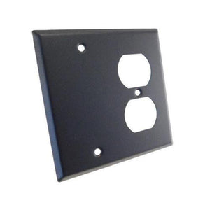NEW Genuine ProCraft Black Stainless Steel 2 Gang Wall Plate W/ Offset Duplex AC