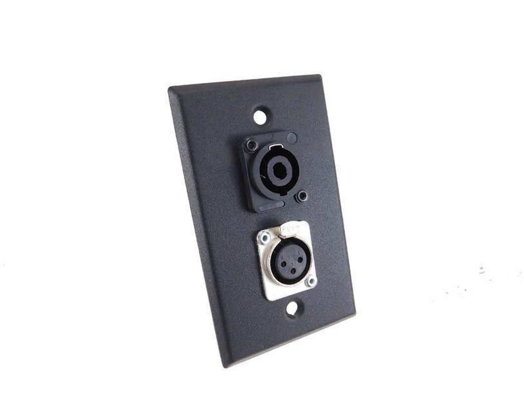 NEW ProCraft Black Stainless Steel Wall Plate W/ 1 Female XLR - 1 Speakon