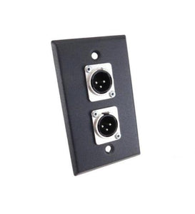 NEW ProCraft Black Stainless Steel Wall Plate W/ 2 Male XLR's