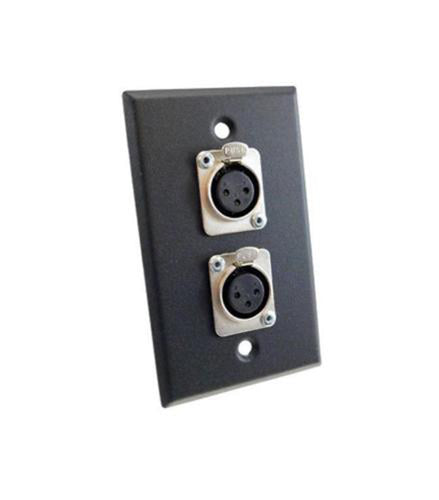 NEW ProCraft Black Stainless Steel Wall Plate Loaded W/ 2 Female Mic XLR Inputs