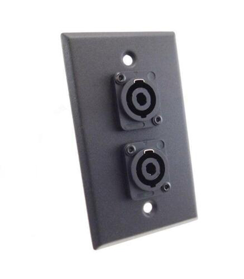 NEW ProCraft Black Stainless Steel Wall Plate Loaded W/ 2 Speakon Jacks