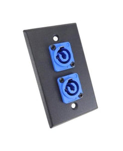 ProCraft Black Wall Plate W/ 2 Power In Blue AC Jacks, Mates w/ Neutrik Powercon
