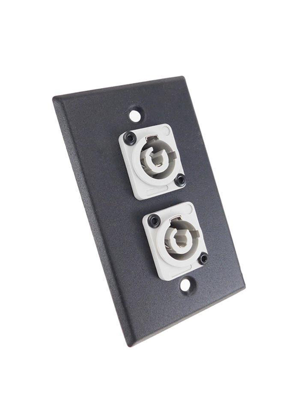 ProCraft Black Wall Plate  2 Power Out Gray AC Jacks, Mates w/ Neutrik Powercon