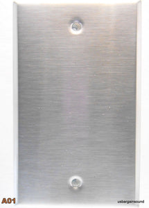 (One)  Single Gang Blank Brushed Stainless Steel Wall Plate.  (A01)