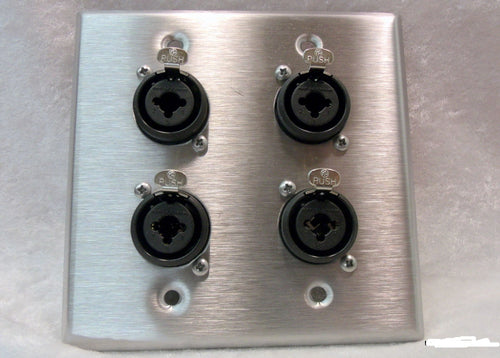 Stainless Steel Wall Plate with Four Neutrik NCJ6FI-S Combo XLR/1/4