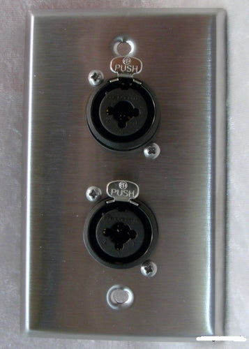 Stainless Steel Wall Plate with Two Neutrik NCJ6FI-S Combo XLR/1/4