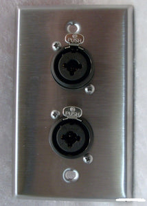"Stainless Steel Wall Plate with Two Neutrik NCJ6FI-S Combo XLR/1/4"" Connectors"